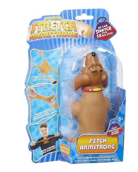 Mini Stretch Armstrong  - Light Brown FETCH the DOG - Super Stretchy Fun - NEW